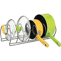 mDesign égouttoir pour casseroles, poêles et couvercles – grand range-couvercle pour ranger ustensiles de cuisine…