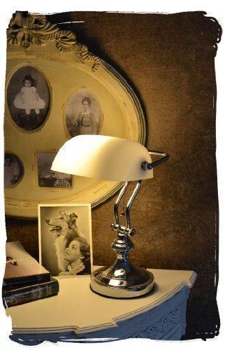 Bankerslamp/Schreibtischlampe/Banker-Lampe/Banker-Leuchte/Pultleuchte, echter Klassiker im Jugendstil mit weißem Glas