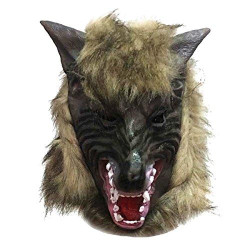 Maschera da lupo mannaro in lattice halloween carnevale travestimento