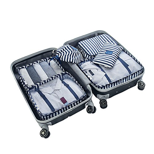 Travel Packing Organizers - Clothes Cubes Shoe Bags Laundry Pouches For Suitcase Luggage, Storage Organizer 6 Set Color Blue Stripe