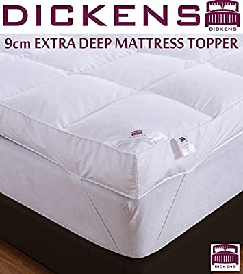 9cm Goose Feather & Down Mattress Topper Elasticated Strap - All Sizes - The London Bedding Company produced by Dickens - quick delivery from UK.