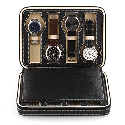 amzdeal Uhrenbeweger Koffer Uhr Uhrenbox Tasche aus Kunstleder Krokodil mit Reißverschluss Box Schmuck (8Promotion-schwarz) -