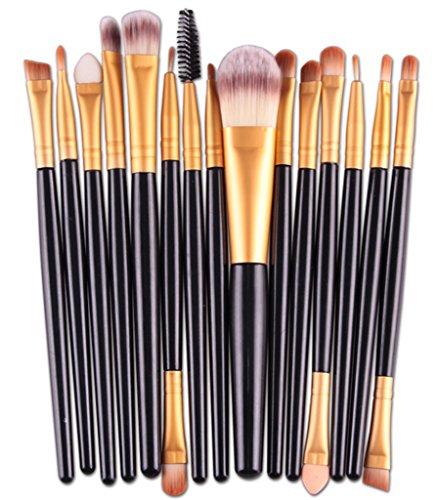 Bigood 15Pcs Pinceaux Brosse de Maquillage Professionnel Cosmétique Make-up Accessoire