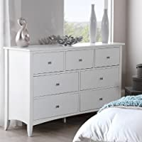 Edward Hopper white 7 drawer chest, large chest of drawers with metal runners and dovetail joints, FULLY ASSEMBLED