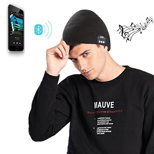Bluetooth Wintermütze mit Bluetooth Stereo Kopfhörern Mikrofon Freisprechen und integriertem Akku Strickmütze kompatibel mit Smartphones/Handys iPhone iPad Laptops Tablets (Schwarz)