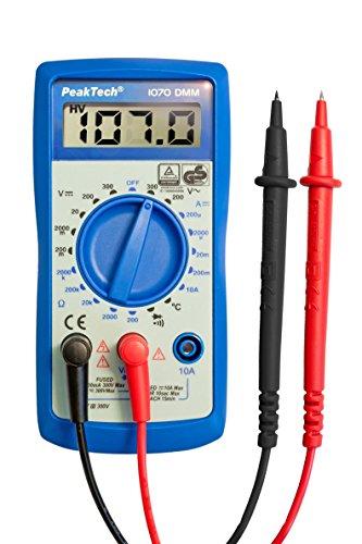PeakTech 1070 - Digitales Multimeter CAT III mit LCD-Display & Licht, TÜV/GS, Batterietester, Handmultimeter, Voltmeter, Elektronisches Strommessgerät, Durchgangsprüfer, Spannungsmesser - Max 300V