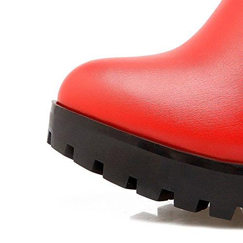 AgooLar Damen Niedrig-Spitze Eingelegt Reißverschluss Rund Zehe Hoher Absatz Stiefel Rot