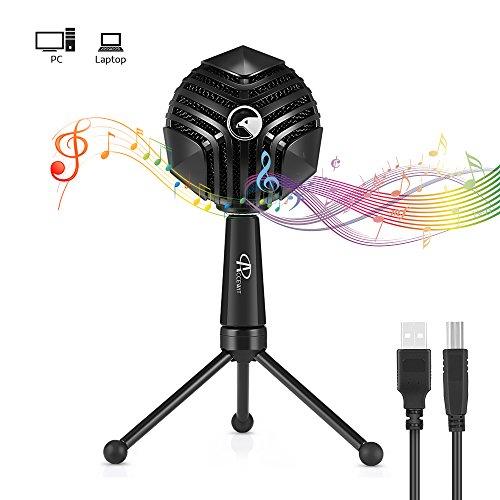 ACCEWIT Microfono USB per PC portatile Podcast Registrazione Chat vocale Riproduzione e canto Microfia a condensatore professionale a casa con treppiede Jack per cuffie Tasto muto e volume Funzione