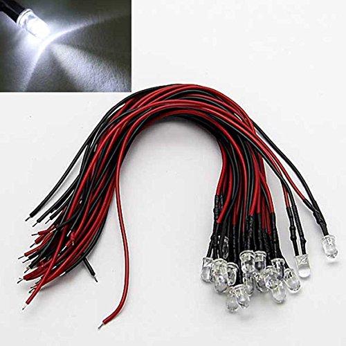 Weiß 85 Spur (LAOMAO 20x 3mm Leds mit 20cm Kabel 12 Volt DC/ Led fertig verkabelt (3mm, Weiß))