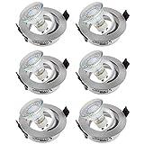 sebson® 6er-Pack Einbaustrahler inkl. GU10 LED 3,5W 300lm (Ersetzt 30W), GU10 Fassung [Einbauleuchte schwenkbar/silber]