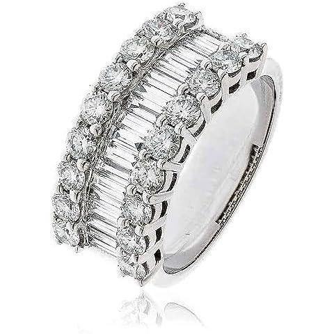 2, 70CT certificado/G VS2 Baguette y corte brillante redondo media fila de tres Eternity Diamond Ring en 18 K oro