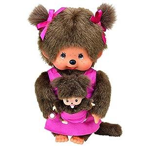 Monchhichi 23620 - Mono de Peluche (20 cm), diseño de mamá y cría, Color Rosa