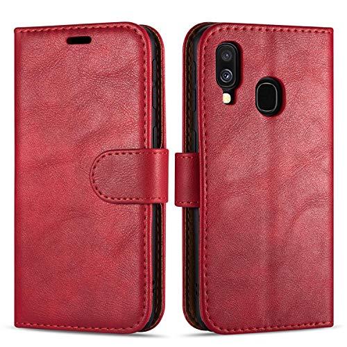 Case Collection Hochwertige Leder hülle für Samsung Galaxy A40 Hülle (5,9