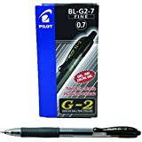 Pilot G207 Retractable Gel Rollerball 0.7 mm Tip - Black, Box of 12