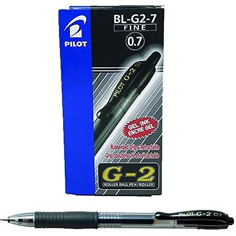 Pilot G207 Retractable Gel Rollerball 0.7 mm Tip - Black, Box of 12