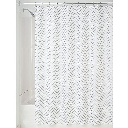 InterDesign Sketched Chevron Duschvorhang | Badewannenvorhang mit Zickzack-Muster | Designer Duschvorhang 183,0 cm x 183,0 cm | Polyester silber (Designer Muster Stoff Vorhänge Mit)