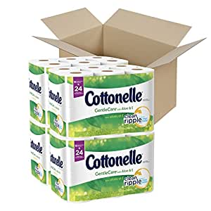 Cottonelle Gentle Care Toilet Paper with Aloe and E, Double Roll, 12 Count (Pack of 4) by Cottonelle