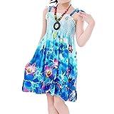 SODIAL(R) ragazze stile estate vestiti dalla spiaggia ginocchio modo senza bretelle della Boemia sundress veste - blu 9 anni