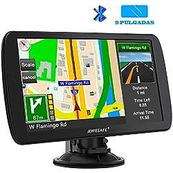 AWESAFE GPS para Camiones de 9 Pulgadas con Bluetooth Pantalla LCD, Navegador GPS para Coche y Camión con Actualizaciones de Mapas de Europa para Toda la Vida