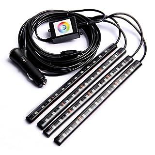 LCLrute Hohe Qualität 4x12 LED Auto Atmosphäre RGB Telefon App Musiksteuerung Streifen Lichter Innenausstattung (Schwarz)