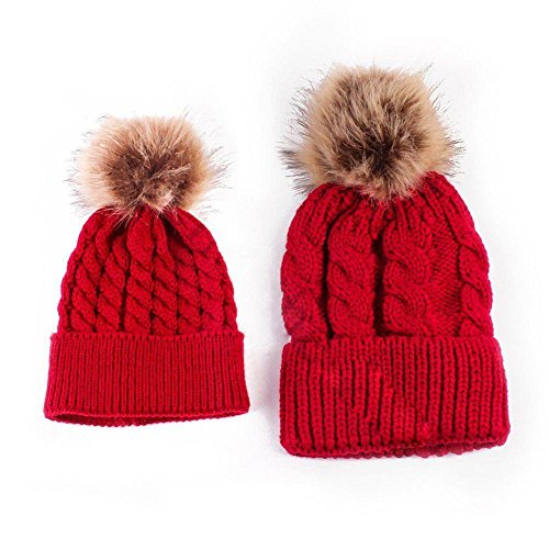 JaneDream One Pair Mother Baby Knit Hat Kids Family Winter Cap Warm Sweet