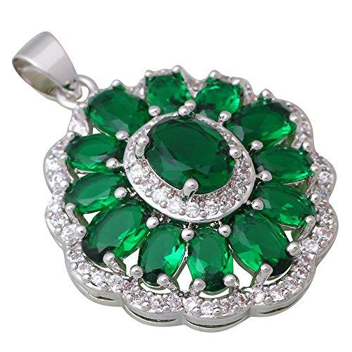 Da donna, in argento Sterling 925overlay Verde Smeraldo Topazio collane ciondoli gioielli P261