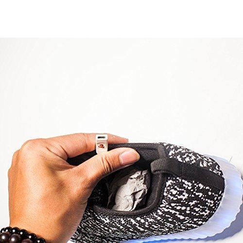 iPretty Unisex Sportschuhe mit Leucht LEDs Winterschuhe gefüttert Damen Und Herren Sneaker 7 Farbe Blinken USB Aufladen Laufschuhe Outdoorschuhe Schwarz/(gefütterte Baumwolle)