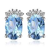 JewelryPalace Birthstone 1.2ct Naturel Ovale Bleu Ciel Topaze Goujon Boucle d'Oreille en Argent 925...