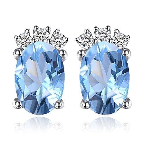 JewelryPalace Donna Gioiello 1.2ct Azzurro Ovale Originali Orecchini Topazio Azzurro Argento Sterling 925
