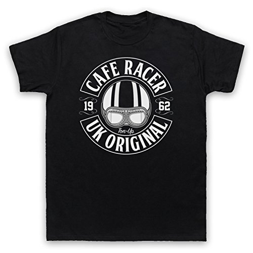 Cafe Racer UK Original Motorcycle Ton Up Herren T-Shirt Schwarz