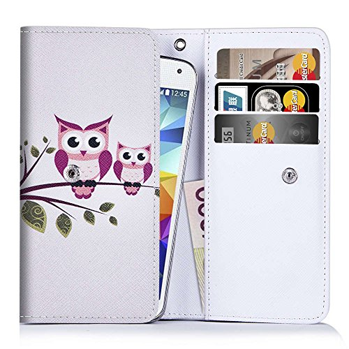 Handytasche / Handyhülle inklusive Brieftasche mit Kreditkartenfächern für HTC One M7 & M8 , Desire 510 610 Eye , Huawei Ascend G610 G620s G630 G700 G750 P7 G7 , LG G3 E986 Optimus G Pro G Pro Lite Dual SimEulen auf Ast