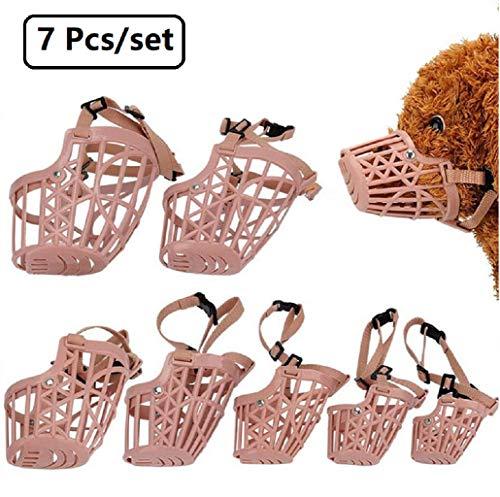 Beikal Juego de 7 bozales de plástico para Perro, antiácaros, Ajustables, para Cesta de Mascotas, para Entrenamiento de Perros, con Cubierta de Malla, Transpirable y cómodo.