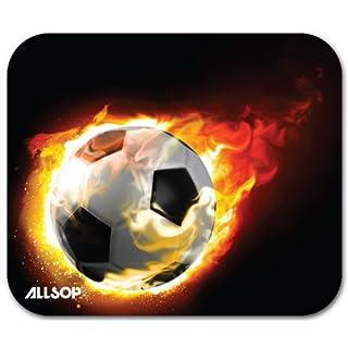 Allsop 06348 Blazing Football Mousepad für verbesserte Maussteuerung (trendiges Fußball Design) schwarz