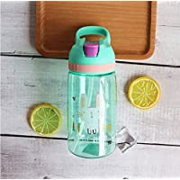FEJK Baby Feeding Cup Cartoon Plastic Solid Feeding Student Convenient Outdoor Child Sports Bottle With Straw 450Ml