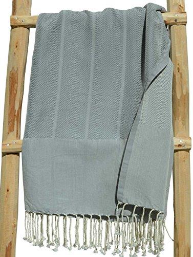 Zusenzomer telo mare fouta xl playa 100x190 cm grigio - telo hammam grande e lussuosa con disegno fine a spina di pesce 100% cotone - teli fouta disegno unico