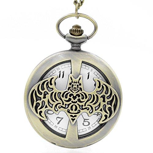 o gebürstet Bronze Effekt Retro/Vintage Case Herren Quarz-Taschenuhr Halskette-auf 81,3cm Zoll/80cm Kette ()