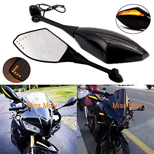Schwarz Motorrad Signal Licht anmachen Spiegel mit LED-Pfeil für CBR GSXR CBR300R 600RR 1000RR(Schwarz Glänzend + Rauchglas)