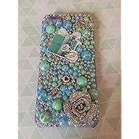 I phone or Samsung case - Unique, Bling, handmade Designer Tiffany heart and key alloy embellishments and Flatback AB Tiffany coloured pearls