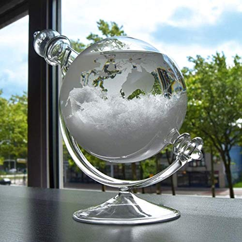mikamax - Sturmglas Globe -  Storm Glass  -Wetterglas - Wettervorhersage - 19 cm x 15 cm x 10 cm