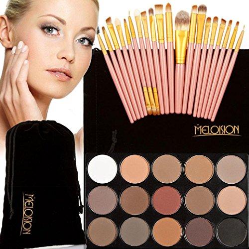 Tonsee 15 Couleur Fard à paupières+ 20 Pcs 20 pièces maquillage brosses Concealer Shadow de poudre pour le visage (Rose+Or)