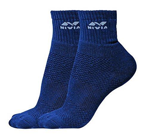 Nivia SS851 Sports Cotton Low Ankle Socks, Men's Medium (Navy)