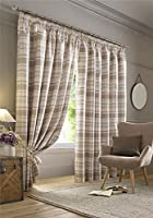 "Highland Tartan Check Plaid Beige Cream Silver Pencil Pleat Fully Lined Curtains 90"" X 90"" from Tartan Curtains"