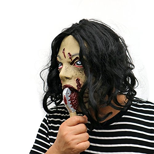 Jackeylove Halloween Axe Ghost Mask, Maske mit Kunsthaar - perfekt für Karneval & Halloween - Erwachsenen Kostüm - Latex, Unisex Einheitsgröße (Realistische Polizei Kostüm)
