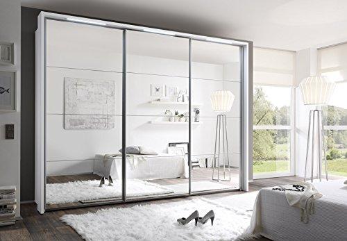 Schwebetürenschrank, ca. 300 cm, inkl. Passepartout & 3 x LED Stripes, Weiß, Spiegel, Kleiderschrank