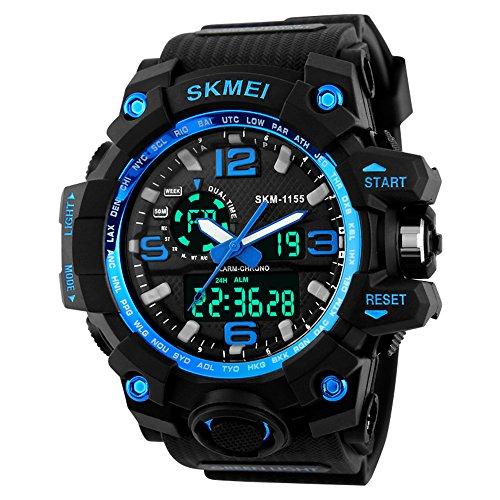 Skmei Relojes Digital Deportivos para Hombre Azul ,Resistente Al Agua Analógico Digital Militares Relojes Grandes con cuenta atrás/Doble Husos Horarios,LED Relojes de Pulsera para Hombre