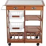 Outsunny - Carrito cocina servicio auxiliar madera metal cromado ruedas cajon botellero