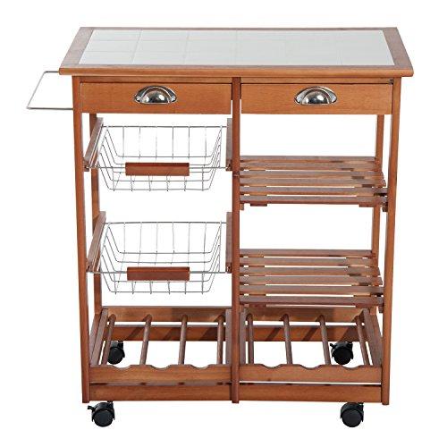 Carrito cocina servicio auxiliar madera metal cromado ruedas cajon botellero