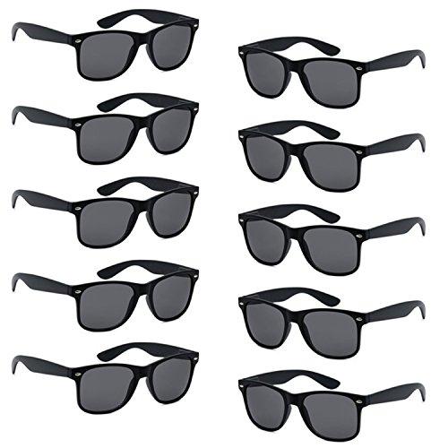 FSMILING Nerd Party Sonnenbrille UV400 Retro Design Stil Unisex Brille - (10 Stück schwarz Brillen)