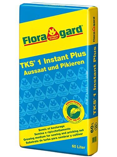 Floragard TKS 1 60 L • fein strukturiertes Kultursubstrat • professionelle Anzucht- und Aussaaterde • für die Aussaat und das Pikieren von Jungpflanzen • mit dem Naturdünger Guano