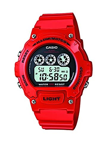 Casio Men's W-214HC-4AVEF Quartz Watch with Grey Dial Digital Display and Red Resin Strap